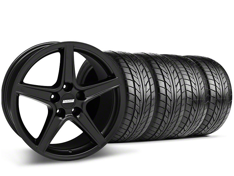 Staggered Saleen Style Matte Black Wheel & NITTO Tire Kit - 18x9/10 (05-14 GT, V6)