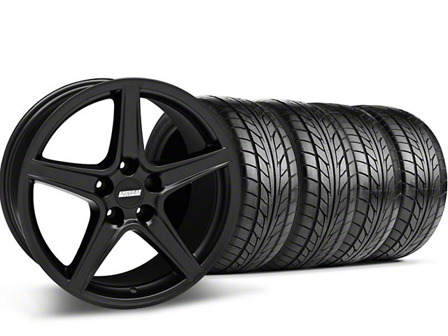 Staggered Saleen Style Matte Black Wheel & NITTO Tire Kit - 18x9/10 (05-14 GT, V6)
