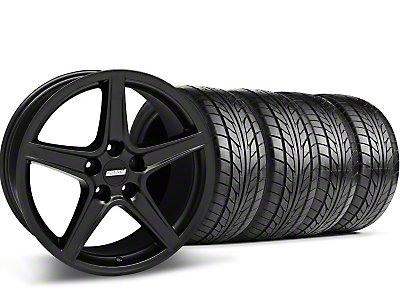 Staggered Matte Black Saleen Style Wheel & NITTO Tire Kit - 18x9/10 (05-14 GT, V6)