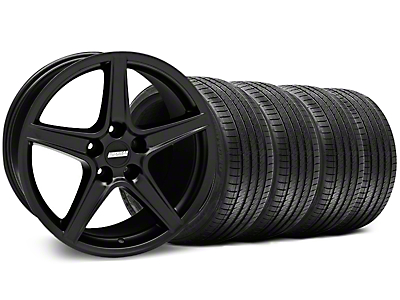 Staggered Matte Black Saleen Style Wheel & Sumitomo Tire Kit - 18x9/10 (99-04 All)