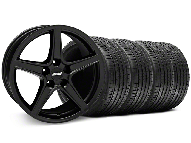 Staggered Saleen Style Matte Black Wheel & Sumitomo Tire Kit - 18x9/10 (94-98 All)