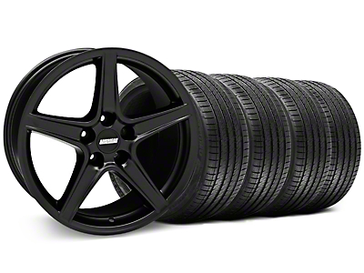 Staggered Saleen Matte Black Wheel & Sumitomo Tire Kit - 18x9/10 (94-98 All)