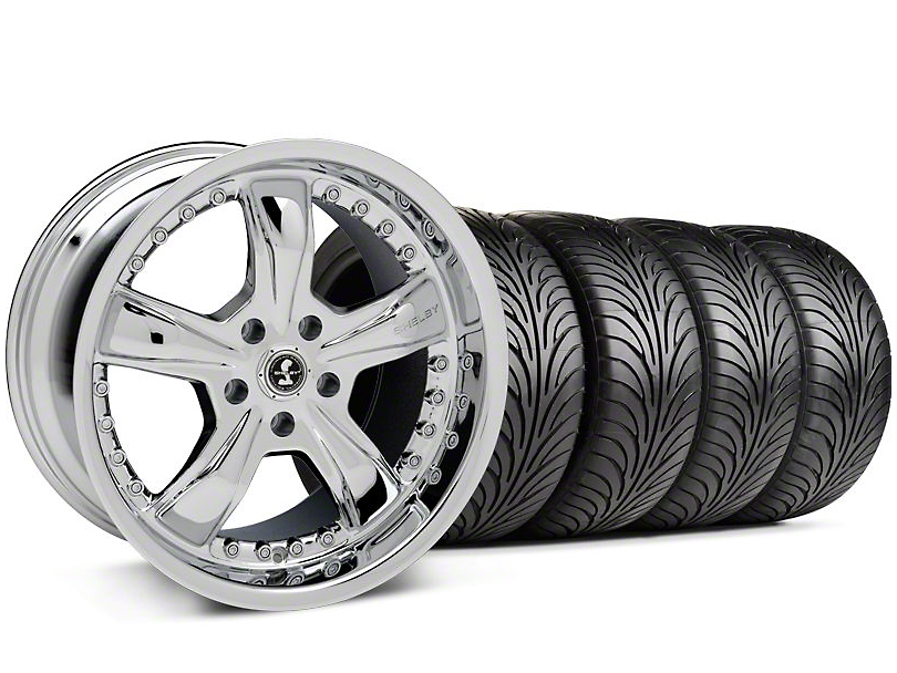Staggered Shelby Razor Chrome Wheel & Sumitomo Tire Kit - 18x9/10 (05-14)
