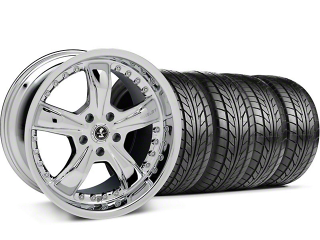 Shelby Staggered Razor Chrome Wheel & NITTO Tire Kit - 18x9/10 (05-14)