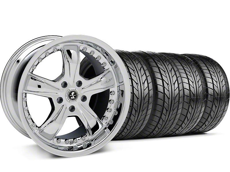 Shelby Staggered Razor Chrome Wheel & NITTO Tire Kit - 18x9/10 (05-14)