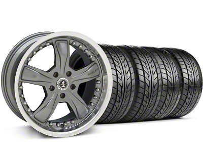Shelby Staggered Razor Gunmetal Wheel & NITTO Tire Kit - 18x9/10 (05-14)