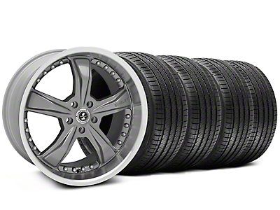 Staggered Gunmetal Shelby Razor Wheel & Sumitomo Tire Kit - 20x9/10 (05-14)