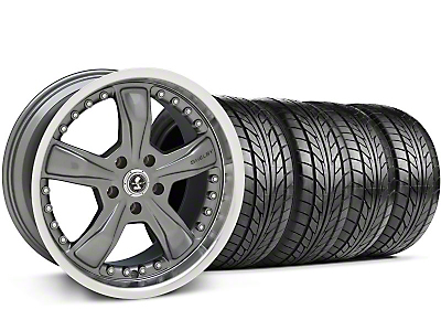 Staggered Shelby Razor Gunmetal Wheel & NITTO Tire Kit - 20x9/10 (05-14)