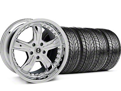 Staggered Shelby Razor Chrome Wheel & NITTO Tire Kit - 18x9/10 (99-04 All)