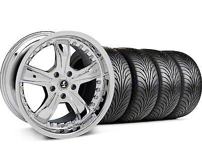Staggered Shelby Razor Chrome Wheel & Sumitomo Tire Kit - 18x9/10 (94-98 All)