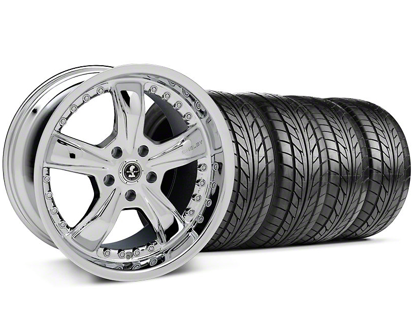 Staggered Shelby Razor Chrome Wheel & NITTO Tire Kit - 18x9/10 (94-98 All)