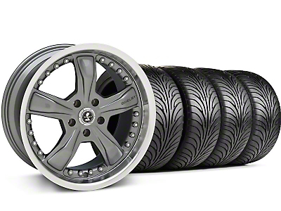 Staggered Gunmetal Shelby Razor Wheel & Sumitomo Tire Kit - 18x9/10 (99-04 All)