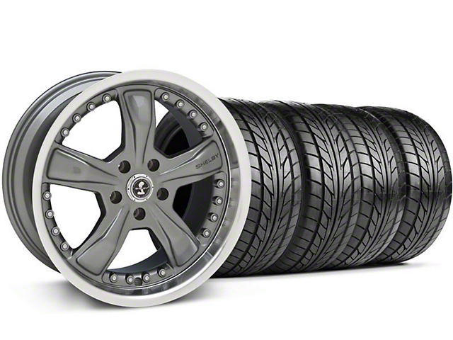 Staggered Shelby Razor Gunmetal Wheel & NITTO Tire Kit - 18x9/10 (99-04 All)