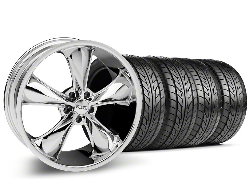 Staggered Foose Legend Chrome Wheel & NITTO Tire Kit - 20x8.5/10 (05-14 GT, V6)