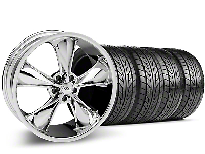 Foose Staggered Legend Chrome Wheel & NITTO Tire Kit - 20x8.5/10 (05-14 GT, V6)