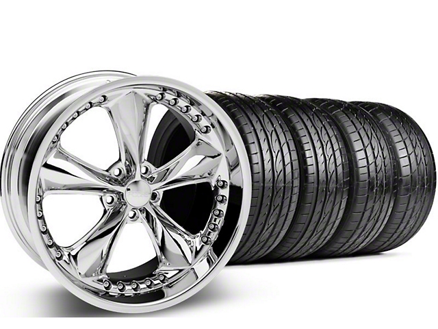 Staggered Foose Nitrous Chrome Wheel & Sumitomo Tire Kit - 20x8.5/10 (05-14 GT, V6)