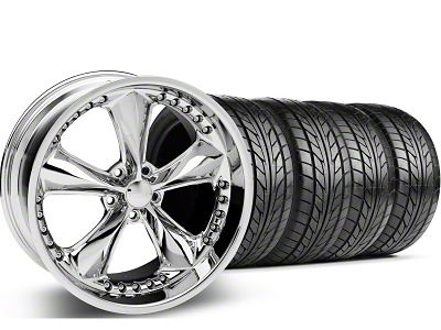 Foose Staggered Nitrous Chrome Wheel & NITTO Tire Kit - 20x8.5/10 (05-14 GT, V6)