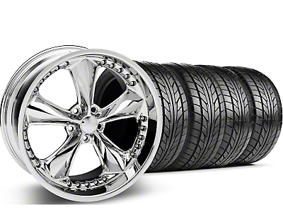 Staggered Foose Nitrous Chrome Wheel & NITTO Tire Kit - 20x8.5/10 (05-14 GT, V6)