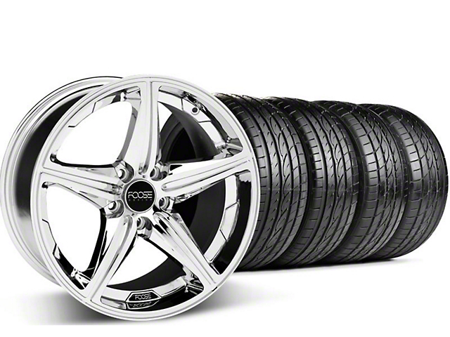 Staggered Foose Speed Chrome Wheel & Sumitomo Tire Kit - 19x8.5/9.5 (05-14 GT, V6)