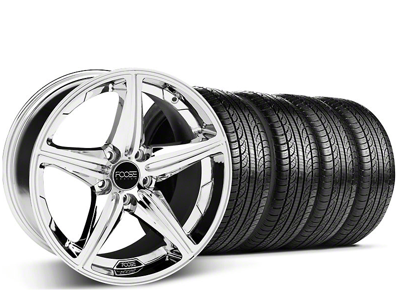 Staggered Foose Speed Chrome Wheel & Pirelli Tire Kit - 19x8.5/9.5 (05-14 GT, V6)