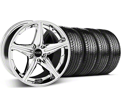 Foose Staggered Speed Chrome Wheel & Pirelli Tire Kit - 19x8.5/9.5 (05-14 GT, V6)