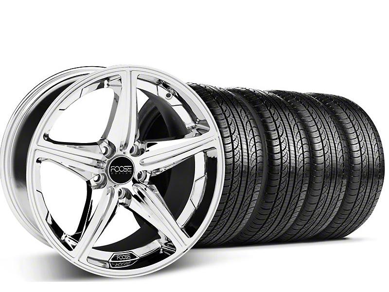 Staggered Foose Speed Chrome Wheel & Pirelli Tire Kit - 19x8.5/9.5 (05-14 GT, V6)