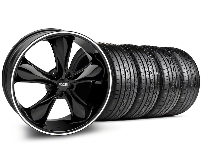 Staggered Foose Legend Black Wheel & Sumitomo Tire Kit - 20x8.5/10 (05-14 GT, V6)