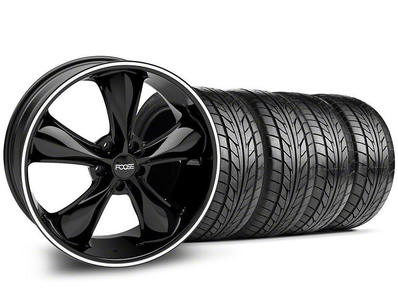 Staggered Foose Legend Black Wheel & NITTO Tire Kit - 20x8.5/10 (05-14 GT, V6)