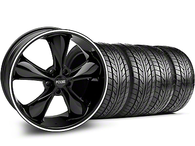 Staggered Foose Legend Black Wheel & NITTO Tire Kit - 20x8.5/10 (05-14 GT, V6)