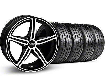Staggered Black Machined Foose Speed Wheel & Sumitomo Tire Kit - 19x8.5/9.5 (05-14 GT, V6)