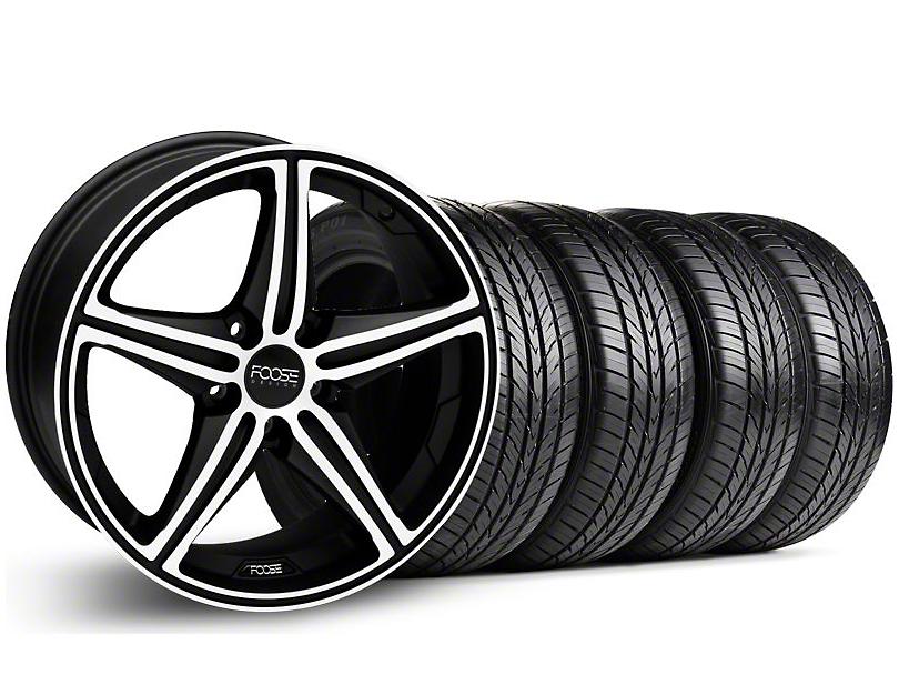 Foose Staggered Speed Black Machined Wheel & Pirelli Tire Kit - 19x8.5/9.5 (05-14 GT, V6)