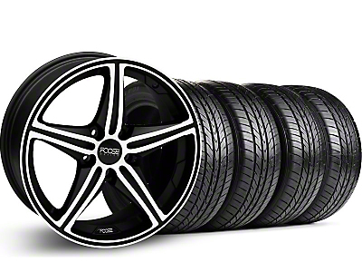 Foose Staggered Speed Black Machined Wheel & Pirelli Tire Kit - 19x8.5/9.5 (05-14 GT, V6)