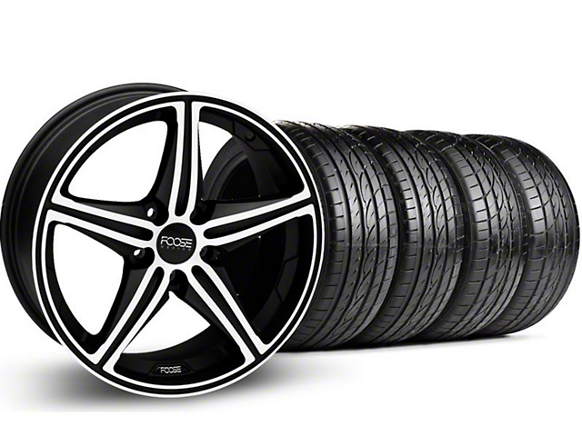Foose Staggered Speed Black Machined Wheel & Sumitomo Tire Kit - 20x8.5/10 (05-14 GT, V6)