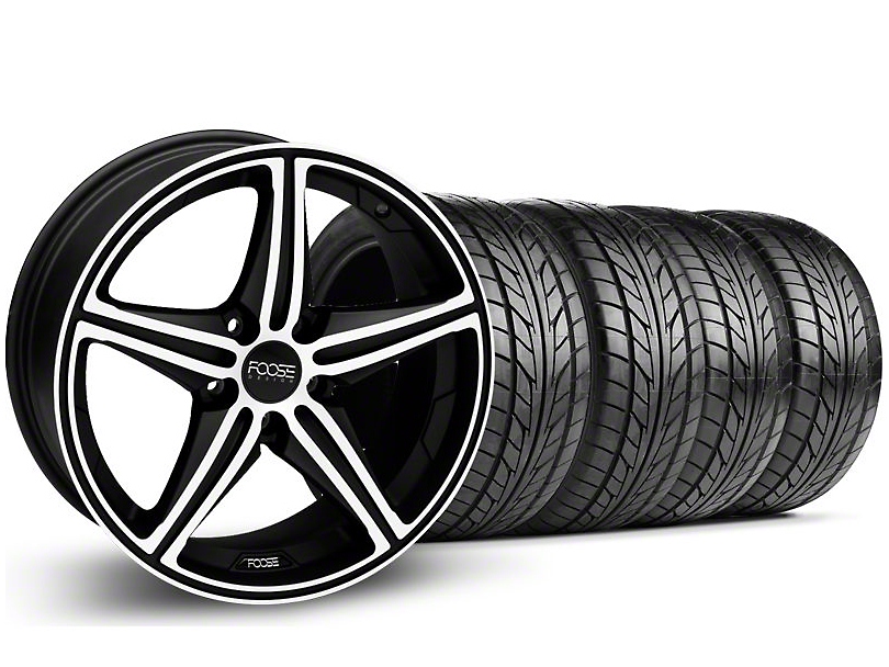 Staggered Foose Speed Black Machined Wheel & NITTO Tire Kit - 20x8.5/10 (05-14 GT, V6)