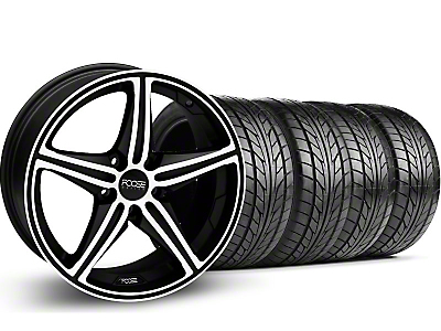 Foose Staggered Speed Black Machined Wheel & NITTO Tire Kit - 20x8.5/10 (05-14 GT, V6)