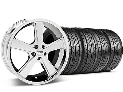 Staggered Chrome American Racing Nova Wheel & NITTO Tire Kit - 20x8.5/10 (05-14 GT, V6)