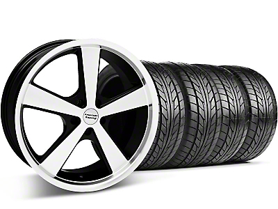 Black Machined American Racing Nova Wheel & Nitto Tire Kit - 18x9 (05-14 GT, V6)