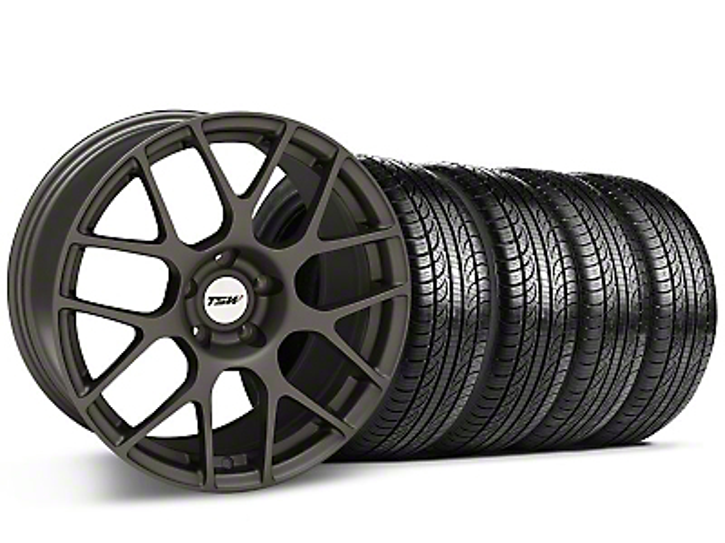 TSW Staggered Nurburgring Matte Gunmetal Wheel & Pirelli Tire Kit - 19x8.5/9.5 (05-14 All)