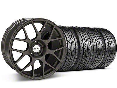 Staggered Matte Gunmetal TSW Nurburgring Wheel & NITTO Tire Kit - 18x8/9 (99-04 All)