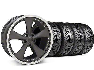 Staggered Matte Graphite Bravado Americana II Wheel & Sumitomo Tire Kit - 18x9/10 (05-14 GT, V6)