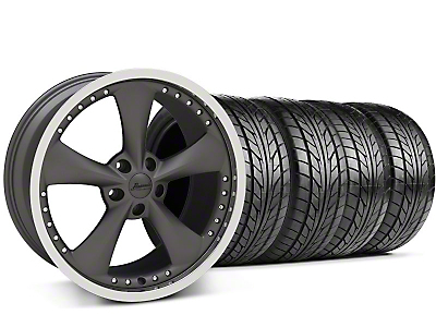 Konig Staggered Bravado Americana II Matte Graphite Wheel & NITTO Tire Kit - 18x9/10 (05-14 GT, V6)