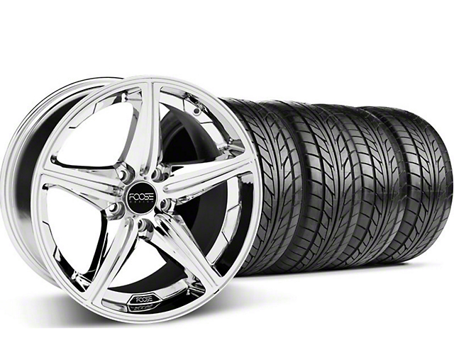 Foose Staggered Speed Chrome Wheel & NITTO Tire Kit - 20x8.5/10 (05-14 GT, V6)