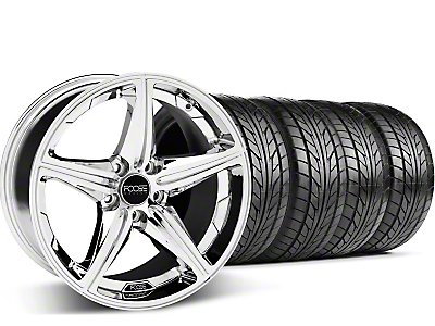 Staggered Foose Speed Chrome Wheel & NITTO Tire Kit - 20x8.5/10 (05-14 GT, V6)