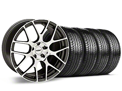 TSW Staggered Nurburgring Gunmetal Wheel & Pirelli Tire Kit - 19x8.5/9.5 (05-14 GT, V6)