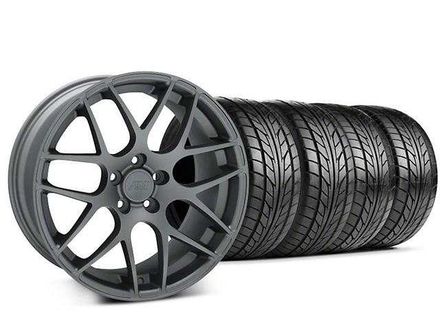 Staggered AMR Charcoal Wheel & NITTO Tire Kit - 18x8/9 (99-04 All)