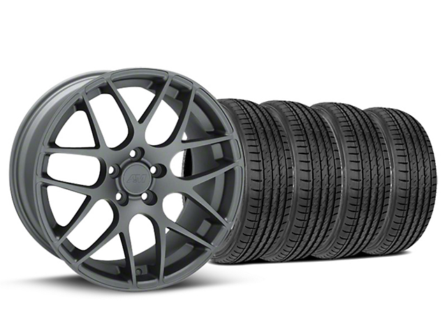 Staggered AMR Charcoal Wheel & Sumitomo Tire Kit - 19x8.5/10 (05-14 All)