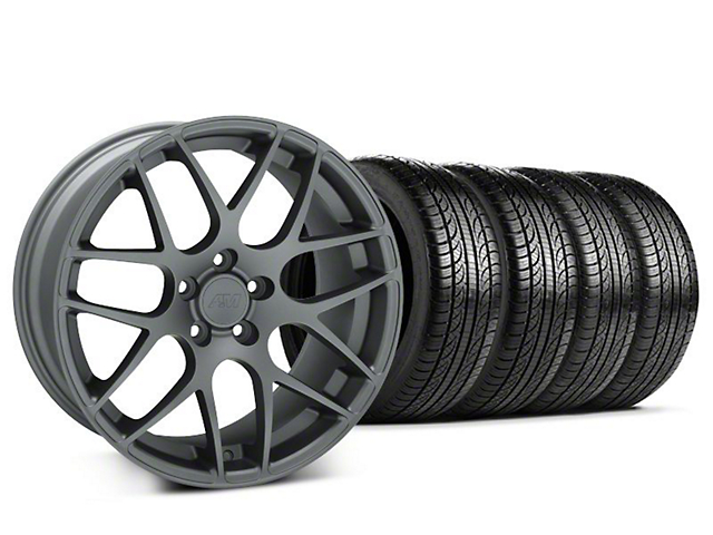 Staggered AMR Charcoal Wheel & Pirelli Tire Kit - 19x8.5/10 (05-14 All)