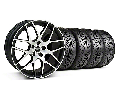 Staggered Matte Black Machined AMR Wheel & Sumitomo Tire Kit - 18x9/10 (05-13 All)