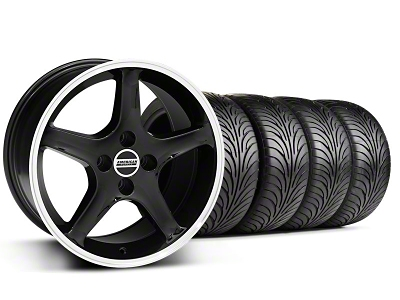 Staggered 1995 Cobra R Style Black Wheel & Sumitomo Tire Kit - 17x8/10 (87-93; Excludes 93 Cobra)