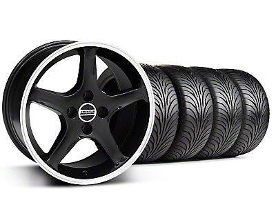 Staggered 1995 Cobra R Black Wheel & Sumitomo Tire Kit - 17x8/10 (87-93; Excludes 93 Cobra)
